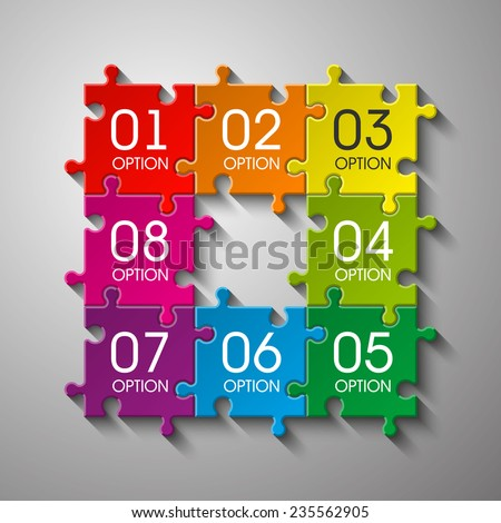 Eight  puzzle presentation. puzzle icon eps10, puzzle icon illustration, puzzle icon picture, puzzle icon flat, puzzle web icon, puzzle icon art, puzzle icon drawing, puzzle icon, puzzle icon vector - stock vector
