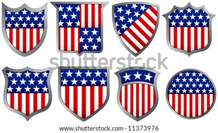 Eight Red White and Blue Shields - stock vector