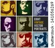 eight vintage vector portraits in different positions and retro colors, eps 8, no transparencies, ideal for prints, rubbed effects are on different layers, they can be easily removed - stock vector