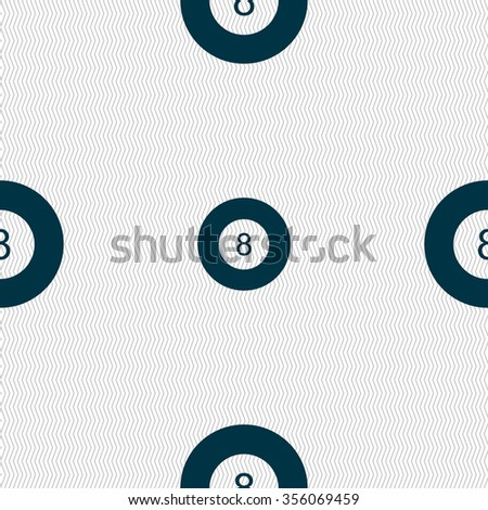 Eightball, Billiards  icon sign. Seamless pattern with geometric texture. Vector illustration