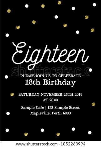 Eighteen invitation card 18th birthday party stock vector royalty eighteen invitation card 18th birthday party vector template stopboris Images