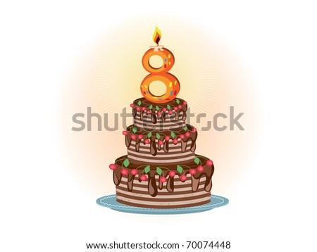 Eighth birthday - stock vector