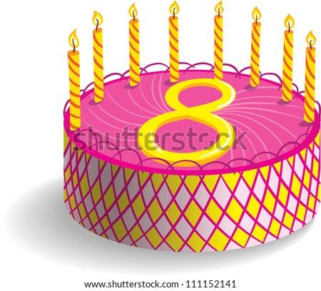Eighth Birthday Cake Stock Vector 111152141 Shutterstock