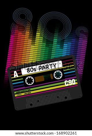 Eighties Party Background - Retro Audio Cassette Tapes and Equalizer