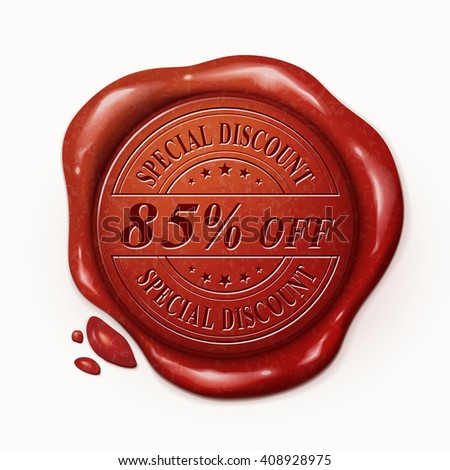 eighty five percent off 3d illustration red wax seal over white background