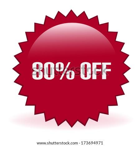 Eighty Percent Discount Sticker - stock vector