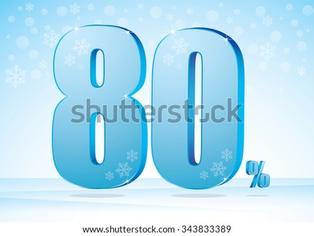 eighty percent on snow background - stock vector