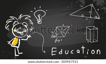 Einstein kid, child student at school. Chalk on blackboard educational vector doodle, sketch.  - stock vector