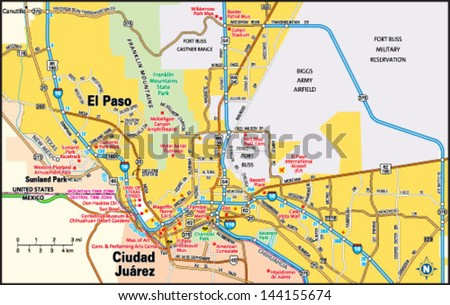 El Paso Texas Area Map Stock Vector HD Royalty Free 144155674