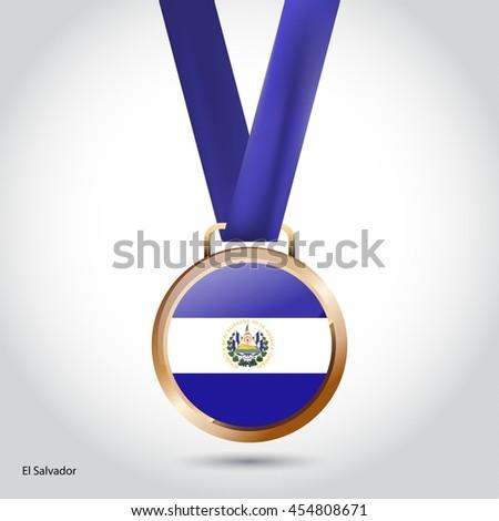 El Salvador Flag in Bronze Medal. Olympic Game Bronze Medal. Vector Illustration - stock vector