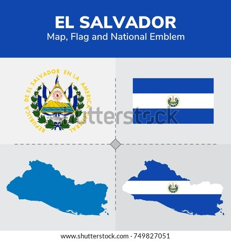 El Salvador Map Flag National Emblem Stock Vector 749827051