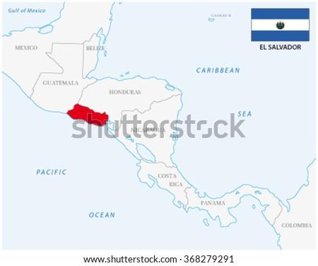 el salvador map with flag - stock vector