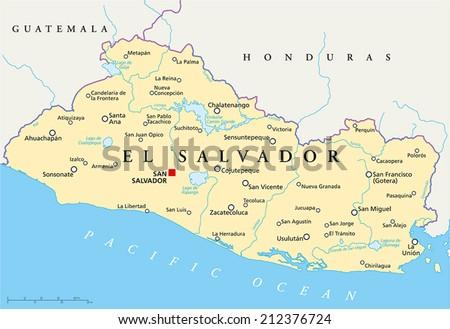 El Salvador Political Map Capital San Stock Vector 212376724