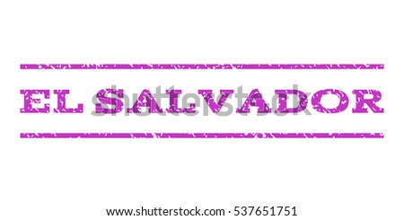 El Salvador watermark stamp. Text caption between horizontal parallel lines with grunge design style. Rubber seal stamp with scratched texture. Vector violet color ink imprint on a white background.