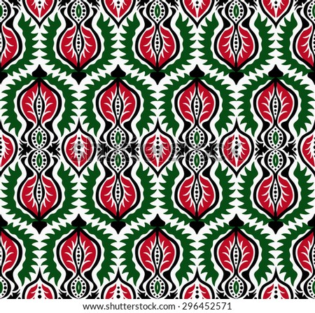 Elaborate black, white, red and green floral seamless pattern. Damask background, retro design. Ethnic flower and leaf elements. For fashion fabric, greeting, cover, postcard, gift paper. Vintage look - stock vector
