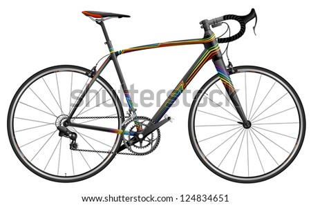 Elaborate illustration of sportive bicycle, EPS 10, file has layers, contains transparency. - stock vector