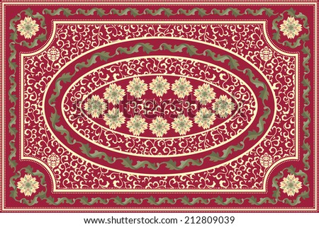 Elaborate red floral carpet design - stock vector
