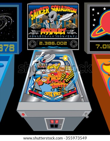 elaborate retro bright colorful pinball machine - stock vector