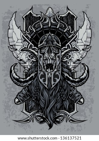 Elder Visigoth/ Viking Skull Design. Viking skull sports an ornate helmet, tusks and massive beard in front of over-sized swords made with ancient decorative designs over a crest with many spear tips - stock vector