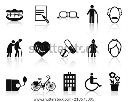elderly and senior icons set - stock vector