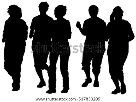 Elderly athletes on running race on white background