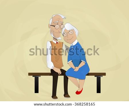 elderly couple embracing sitting on  bench. Retired elderly couple in love. Vector - stock vector