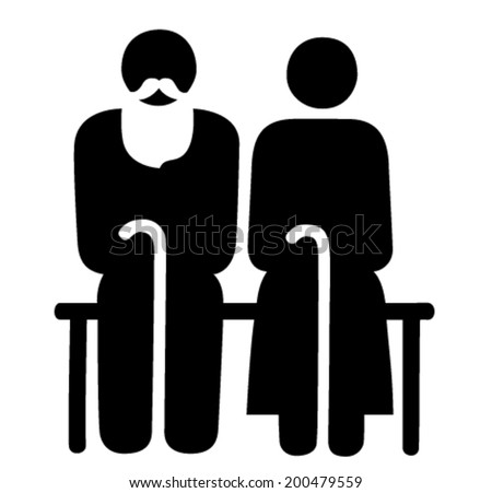 Elderly couple sitting together on a bench vector sign - stock vector