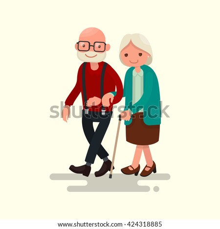 Elderly couple walking. Vector illustration of a flat design - stock vector