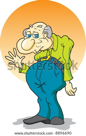 Elderly Gentleman Waving - stock vector