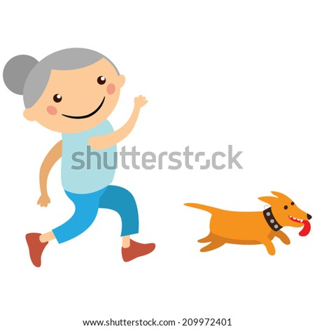 elderly lady jogging with her dog - stock vector