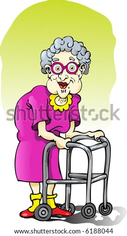 Elderly Lady with Walker - stock vector