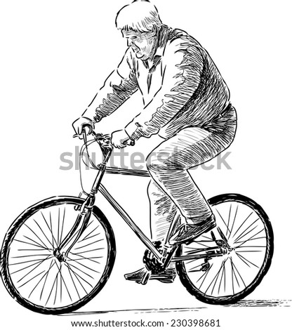 elderly man riding a bicycle - stock vector