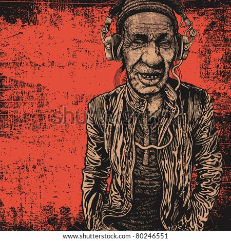 elderly man with headphones listening to music and grunge scratched background. vector illustration. - stock vector