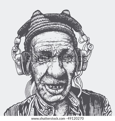 elderly man with headphones listening to music. vector illustration