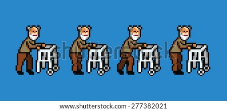 elderly man with walker pixel art style walking cycle animation isolated - stock vector