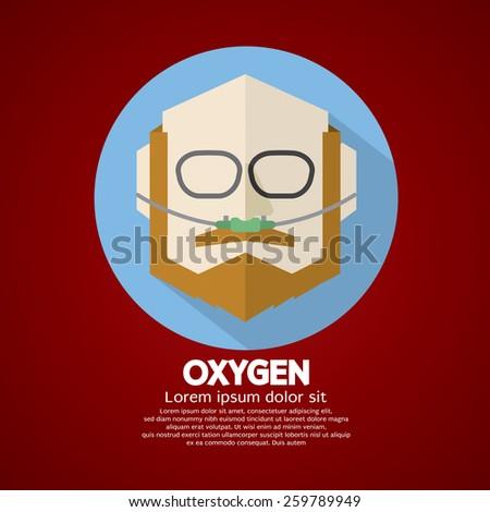 Elderly Patient With Respiratory Oxygen Nasal Catheter Vector Illustration - stock vector