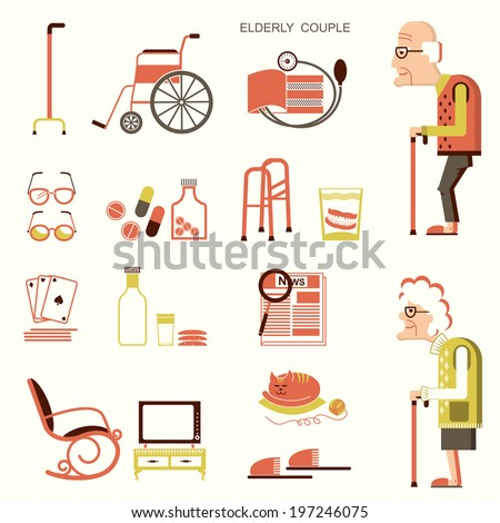 Elderly people and objects for pensioners.Vector flat design icons - stock vector