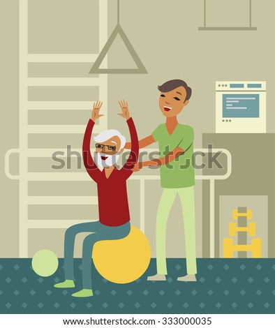 Elderly senior doing exercise with instructor in the gym - stock vector