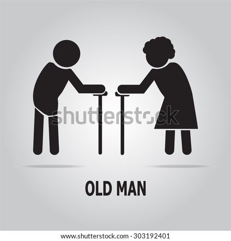 Elderly symbol. old people icon vector illustration - stock vector