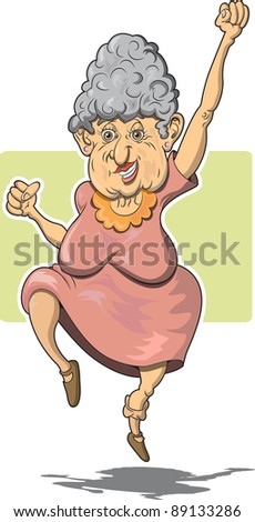 Elderly Woman Leaping for Joy - stock vector