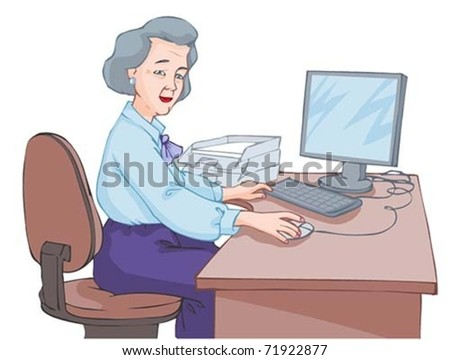 elderly woman working at a computer isolated on white background
