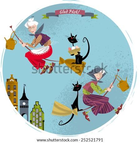 Elderly women on broomsticks with cat and kettle. Scandinavian Easter. Glad Pask! Vector illustration - stock vector