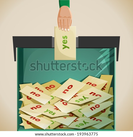 Election - ballot box. an idea showing a hand posting it's vote in a ballot box to say yes .  - stock vector