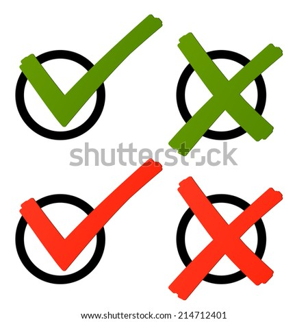 Election - cross and hook green / red - stock vector