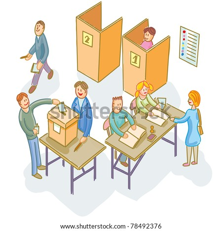 Election day! People voting into the polling station - stock vector