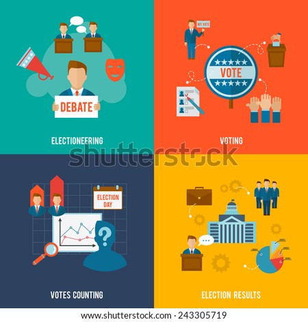 Election design concept set with votes counting flat icons isolated vector illustration - stock vector