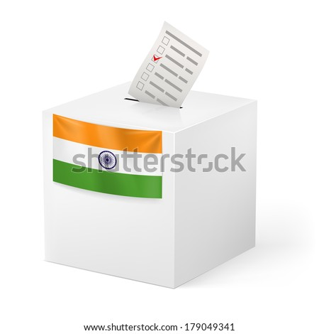 Election in India: ballot box with voicing paper isolated on white background - stock vector