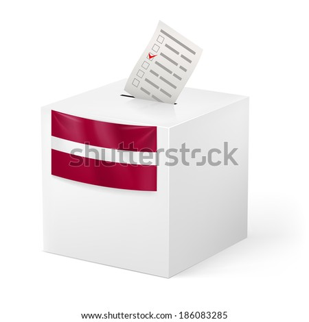 Election in Latvia: ballot box with voting paper on white background