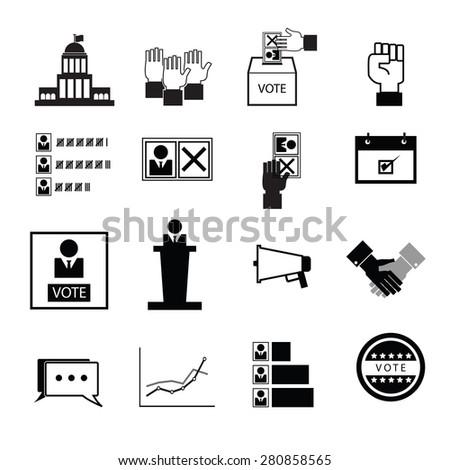 Election vote democracy icons set - stock vector