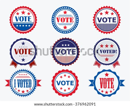 Election Voting Stickers and Badges in USA red, white and blue